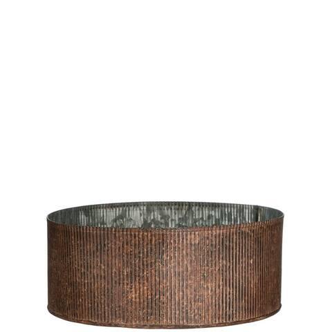 """Rust Ribbed Galvenized Pot - 10""""L x 10""""W x 4""""H"""