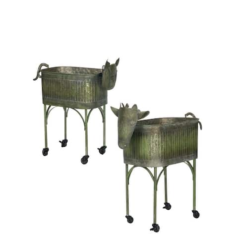 """Rustic Green Cow & Pig Farm Planters - Set of 2 - 28""""L x 15.5""""W x 35.5""""H, 25""""L x 13.5""""W x 29""""H"""