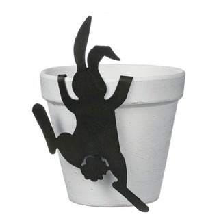 "White Pot with Black Bunny Accent - 6""L x 6.25""W x 8""H"