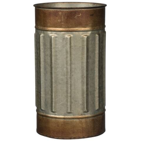 "Rustic Bronze Rimmed Cylinder Metal Planter - 6""L x 6""W x 10.5""H"