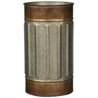 "Rustic Bronze Rimmed Cylinder Metal Planter - 6""L x 6""W x 10.5""H"