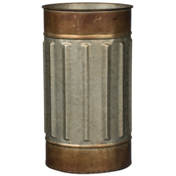 """Rustic Bronze Rimmed Cylinder Metal Planter - 6""""L x 6""""W x 10.5""""H. Opens flyout."""