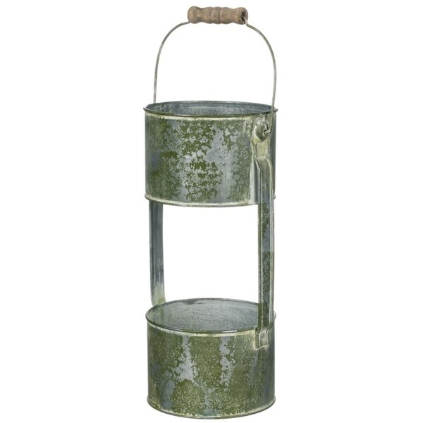 """Rustic Green Double Pot Handled Planter - 5.5""""L x 5""""W x 11""""H. Opens flyout."""