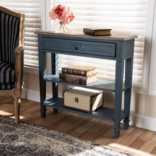 Baxton Studio French Country Blue Spruce Fiinished Wood Accent Console Table