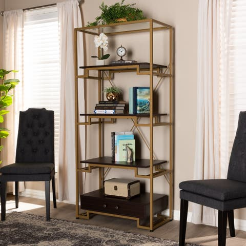 Contemporary Gold-Tone and Dark Brown 3-Shelf Bookcase with Drawer