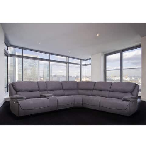 Levi Grey Transitional Upholstered Power Reclining Sofa Sectional
