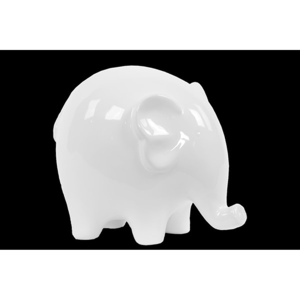 UTC46613: Ceramic Standing Elephant Figurine with Short Legs LG Gloss Finish White