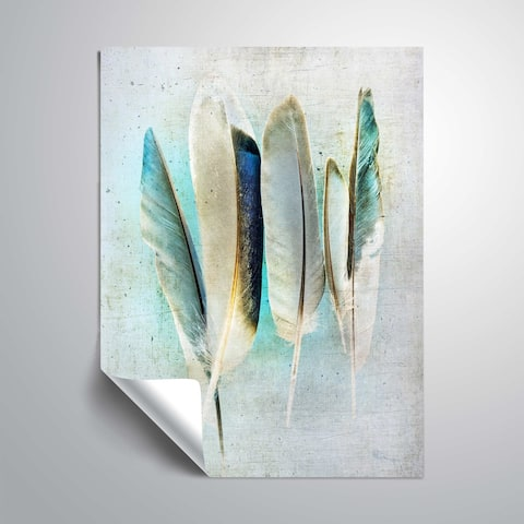 ArtWall Feathers Turquoise Removable Wall Art Mural