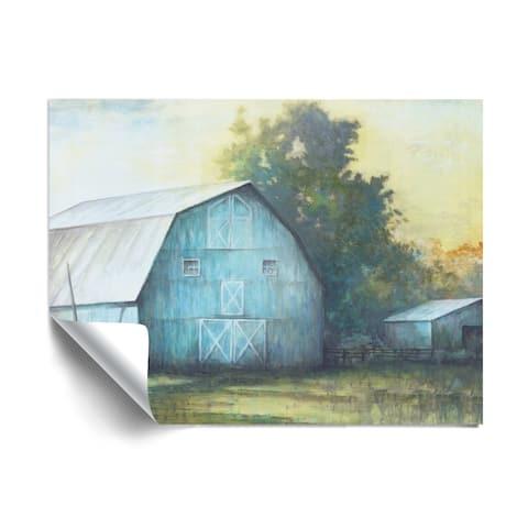 ArtWall Rustic Blue Barn Removable Wall Art Mural