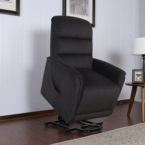 AC Pacific Miles Contemporary Grey Fabric Upholstered Power Recliner Lift Chair