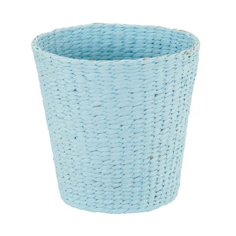 Household Essentials Waste Basket Trash Bin, Paper Rope Blue