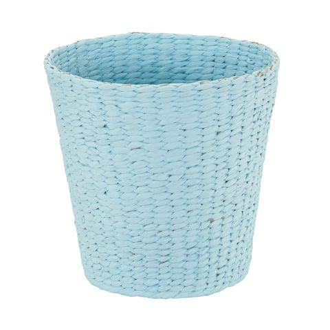 Household Essentials Waste Basket Trash Bin, Paper Rope Blue