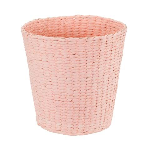 Household Essentials Waste Basket Trash Bin, Paper Rope, Pink