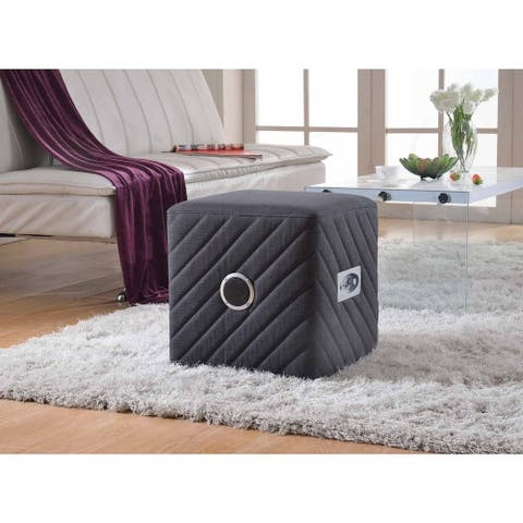 Caitlin Fabric Upholstered Ottoman with Bluetooth Speaker