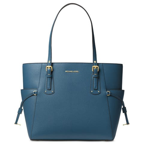 a2f50dbb564e MICHAEL Michael Kors Voyager East West Crossgrain Leather Tote Dark  Chambray/Gold