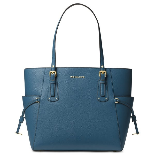 3514b349391c MICHAEL Michael Kors Voyager East West Crossgrain Leather Tote Dark  Chambray/Gold