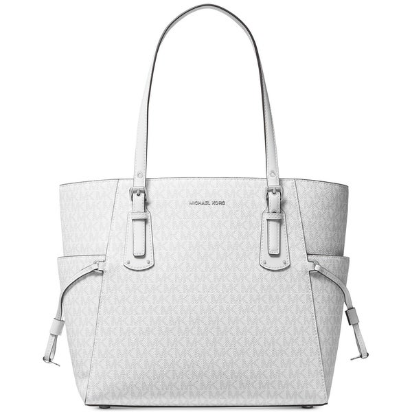 37b187b63746 MICHAEL Michael Kors Voyager East West Signature Tote Bright White Silver