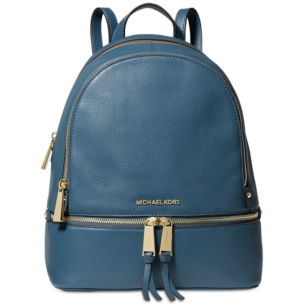 b514641a074398 Shop MICHAEL Michael Kors Rhea Zip Small Pebble Leather Backpack Dark  Chambray/Gold - On Sale - Free Shipping Today - Overstock - 27735779