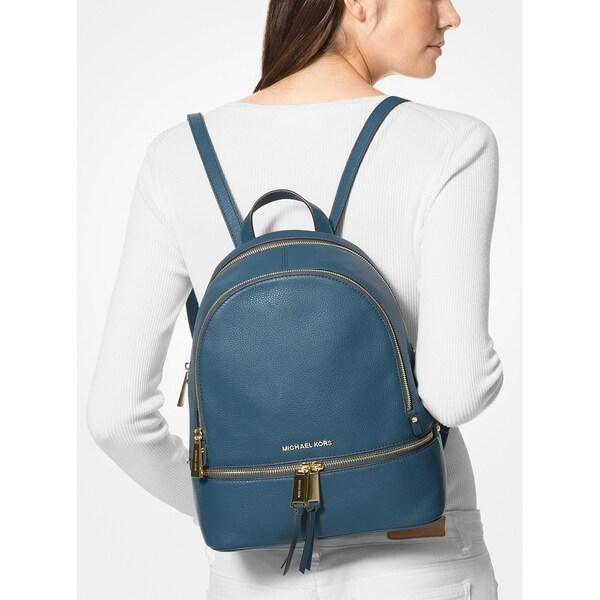 MICHAEL Michael Kors Rhea Zip Small Pebble Leather Backpack Dark ChambrayGold