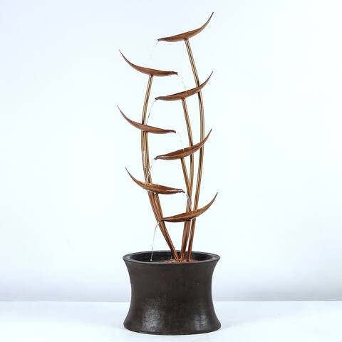 43.1in. H Rain Forest Bronze Metal Leaves Cascading Polyresin Fountain