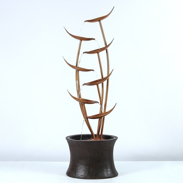 43.1in. H Rain Forest Bronze Metal Leaves Cascading Polyresin Fountain. Opens flyout.