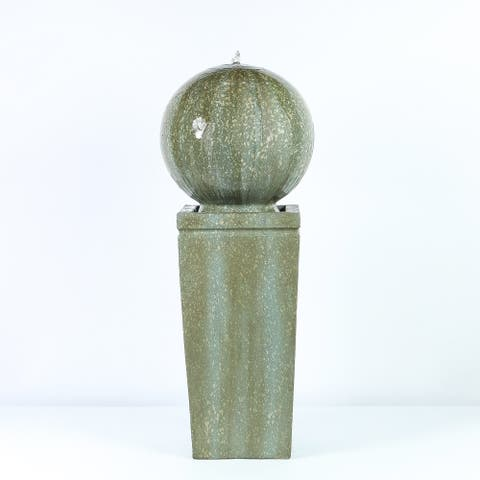 Havenside Home Tulum Stone Sphere on Pillar 34.5-inch Fountain with Patina Finish