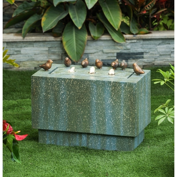 Patina Finish Rectangular Pedestal and Birds Fountain with LED Lights. Opens flyout.