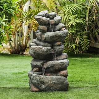 Link to Resin 33.5in. H Cascading Rock Outdoor Fountain Similar Items in Outdoor Decor