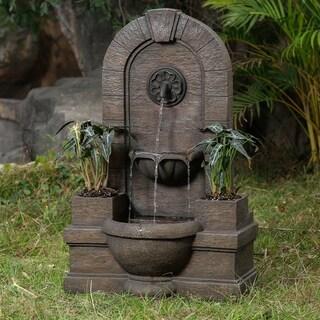 Garden Polyresin Fountain Oasis with Planters