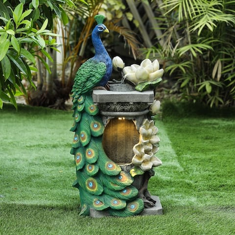 Polyresin Peacock Outdoor Fountain with LED Light