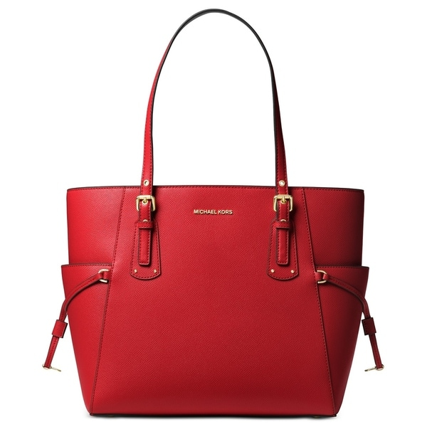 a708ddf671771f Shop MICHAEL Michael Kors Voyager East West Crossgrain Leather Tote Bright  Red/Gold - Free Shipping Today - Overstock - 27735817