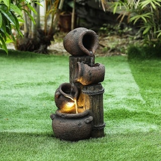 Polyresin Cascading Pitchers Outdoor Fountain with LED Light