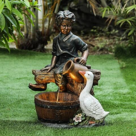 Polyresin Boy and Goose Outdoor Fountain