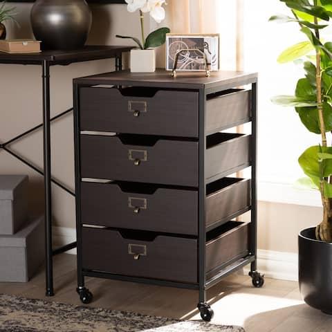 Baxton Studio Contemporary Espresso and Black 4-Drawer Mobile File Cabinet