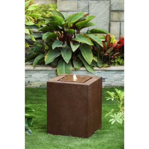Tulum Aged Bronze Square 20-inch Fountain with LED Light by Havenside Home