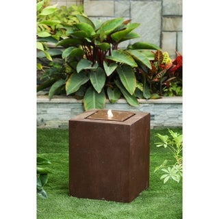 Havenside Home Tulum Aged Bronze Square 20-inch Fountain with LED Light