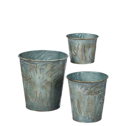 "Leaf Embossed Nesting Metal Pot Planters - Set of 3 - 6,4.75,4""L x 6,4.75,4""W x 6.5,5,3.25""H"