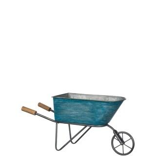 "Blue Metal Decorative Wheel Barrow Planter - 30""L x 8.5""W x 13""H"