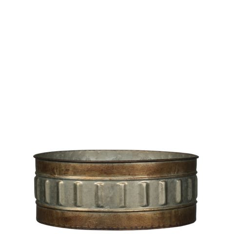 "Rustic Bronze Rimmed Short Round Metal Planter - 10""L x 10""W x 4""H"
