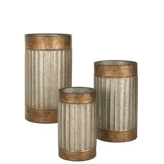 "Rustic Bronze Rimmed Round Metal Planters - Set of 3 - 14.5,12,10""L x 14.5,12,10""L x 26,21,17""H"