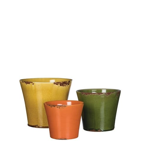 "Weathered Yellow, Green, & Orange Flower Pots - Set of 3 - 8,6.5,5.5""L x 8,6.5,5.5""W x 7.25,6,5""H"