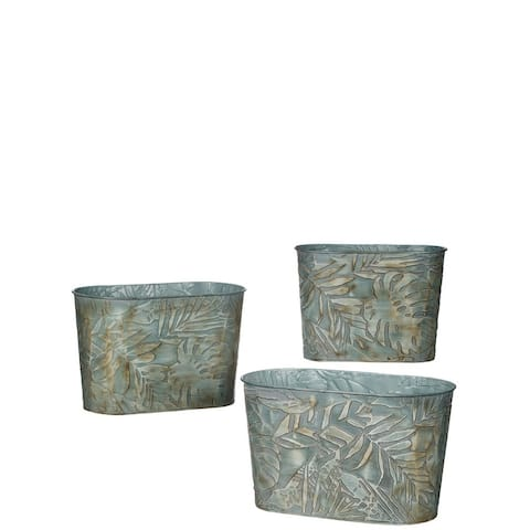 """Leaf Embossed Nesting Oval Metal Planters - Set of 3 - 14.5,13,11""""L x 8,6.5,5.5""""W x 8.5,8.25,8""""H"""