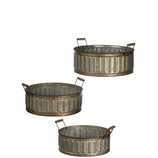 """Rustic Bronze Rimmed Round Metal Handled Planters - Set of 3 - 16,14,12""""L x 18,16,14.5""""W x 8,7,6""""H"""