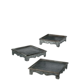 """Weathered Silver Metal Stackable Plant Stands - Set of 3 - 11.5,10.25,8.5""""Lx11.5,10.25,8.5""""Wx2.5,2.5,2.5""""H"""