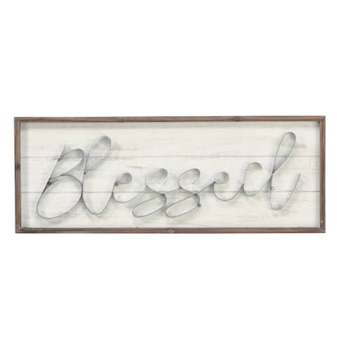 "Wood/Metal ""Blessed"" Wall Art"