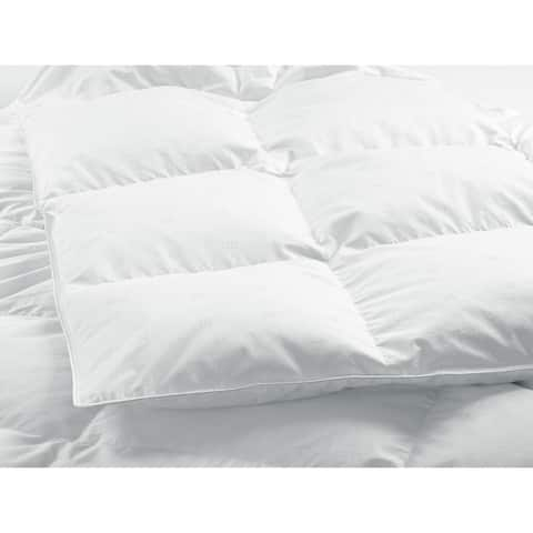 Highland Feather 550 Loft White Goose Down Duvet/Comforter All-Seasons Fill 500TC 100% Cotton Casing with Corner Ties