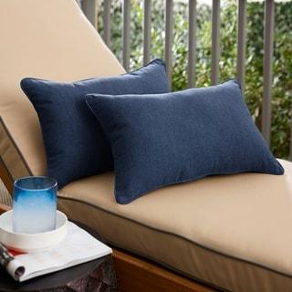 Sunbrella Indigo Blue Indoor/Outdoor Lumbar Pillow, Set of 2
