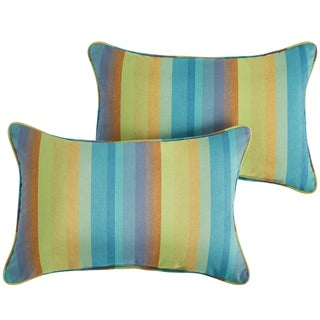 Sunbrella Blue Stripe Indoor/Outdoor Lumbar Pillow, Set of 2