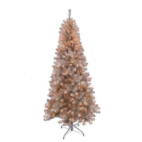 Puleo International 6.5 ' Pre-Lit Rose Gold Tinsel Artificial Christmas Tree with 400 UL Lights
