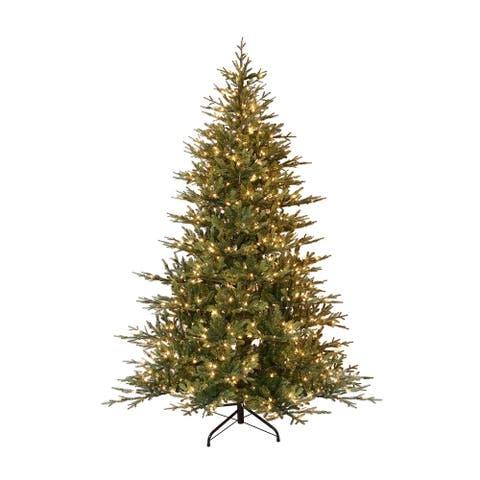 Puleo International 7.5 ' Pre-Lit Balsam Fir Artificial Christmas Tree with 800 UL Clear Incandescent Lights
